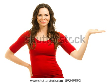 Isolated portrait of a beautiful young woman showing with hand - stock photo