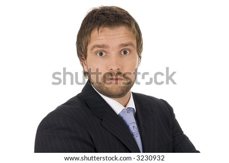 Isolated portrait of a confident and young businessman