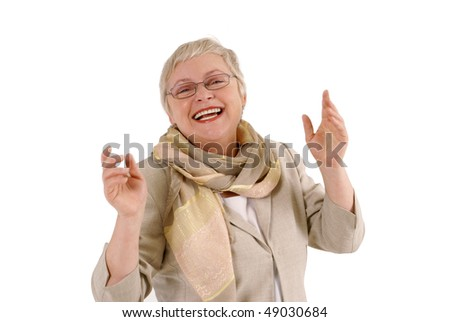 Isolated portrait of a mature woman enjoying life