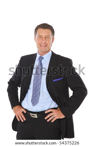 Isolated portrait of a senior executive businessman. Cheerful and in a suit - stock photo