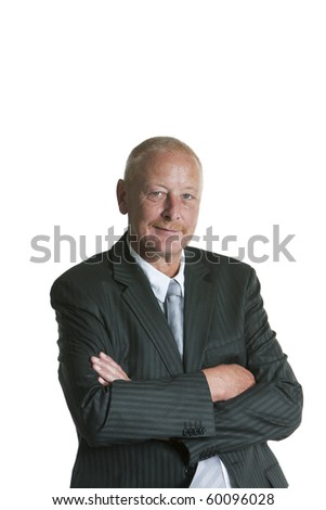 Isolated portrait of a senior executive businessman. Cheerful and in a suit. - stock photo
