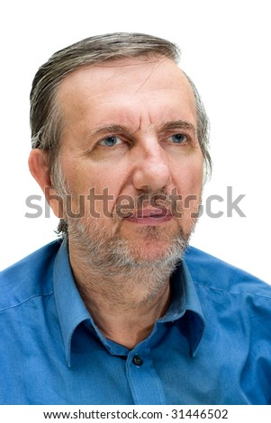 Isolated portrait of a senior man in a blue shirt