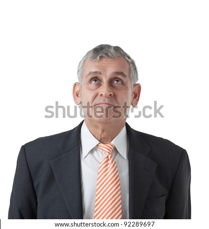 isolated portrait of a successful mature business man smiling - with Copyspace - stock photo