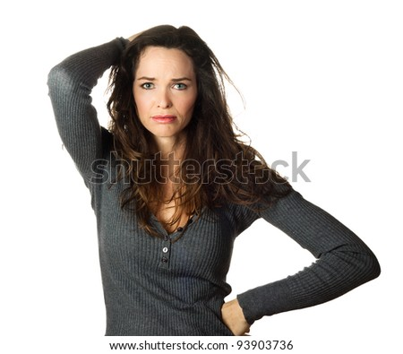 Isolated portrait of a very worried and concerned beautiful woman. - stock photo