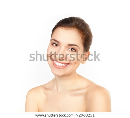 Isolated portrait of beautiful young woman
