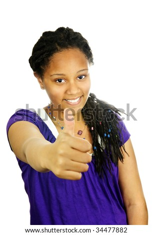 Isolated portrait of black teenage girl gesturing thumbs up - stock photo