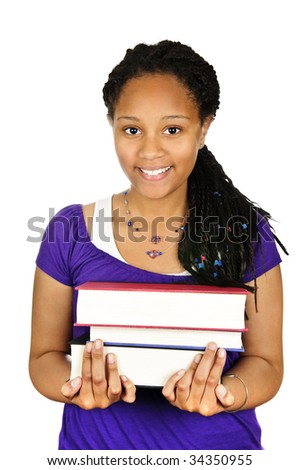 Isolated portrait of black teenage girl holding text books - stock photo