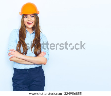 isolated portrait of business woman builder architect style wearing. Smiling model portrait. - stock photo