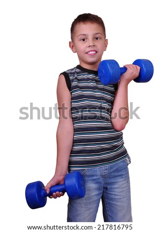 Isolated portrait of child exercising with dumbbells. Childhood, sports, strength active lifestyle concept - stock photo