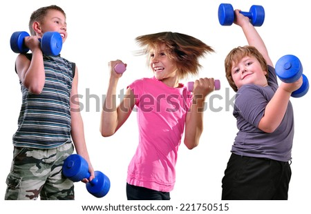 Isolated portrait of children exercising with dumbbells. Childhood, sports, strength active lifestyle concept - stock photo