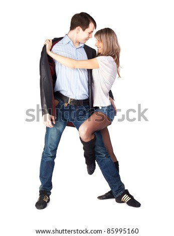 isolated portrait of couple dancing hustle with passion