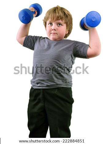 Isolated portrait of elementary age with dumbbells exercising . Childhood, sports, strength, active lifestyle concept - stock photo