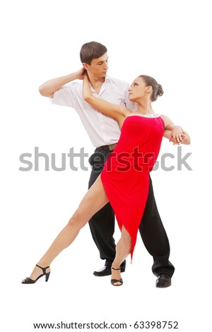 isolated portrait of gorgeous girl and man performing salsa