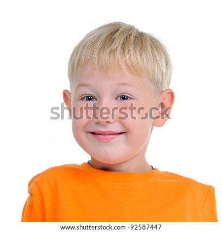 Isolated portrait of smiling cute boy having a fun - stock photo