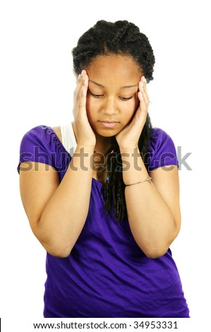 Isolated portrait of worried teenage girl with headache - stock photo