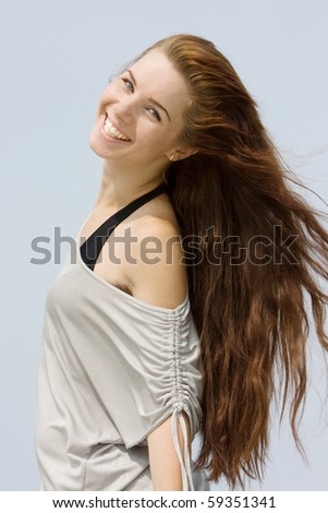 isolated portrait of young attractive girl - stock photo