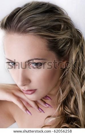 Isolated portrait shot of a beautiful caucasian woman - stock photo