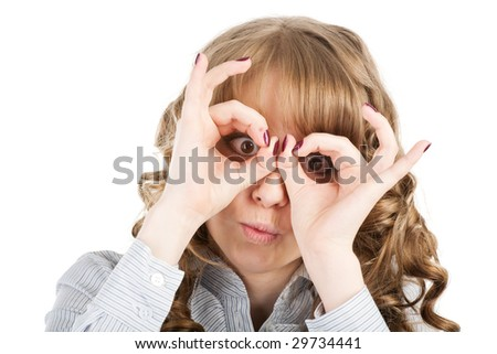 Isolated portrait shot of a beautiful caucasian woman. Holding her face in astonishment. - stock photo