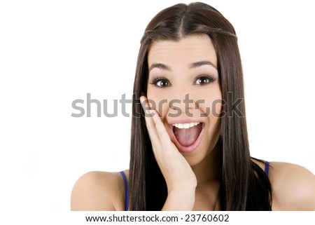 Isolated portrait shot of a beautiful holding her face - stock photo