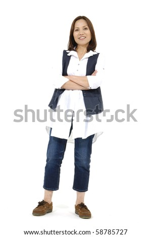 Isolated portrait shot of asian woman posing - stock photo