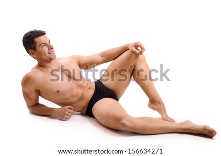 Isolated posing man on white background - stock photo