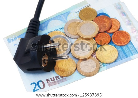 Isolated Power plug with European Banknote and coins - electricity costs concept - stock photo