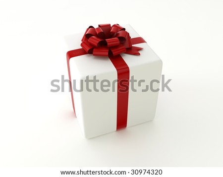 isolated present with red band on the white background