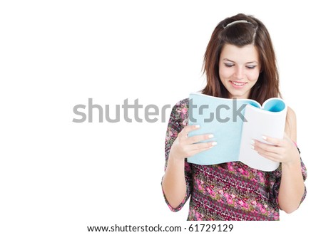 isolated pretty teen girl with book - stock photo