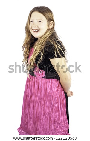 Isolated pretty young girl laughing smiling, very happy - stock photo