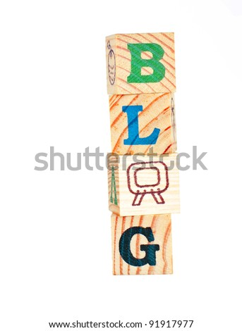 Isolated printers blocks letters forming the word blog. - stock photo