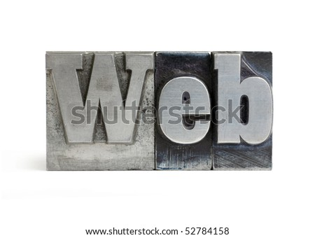 Isolated printers blocks letters forming the word web. - stock photo