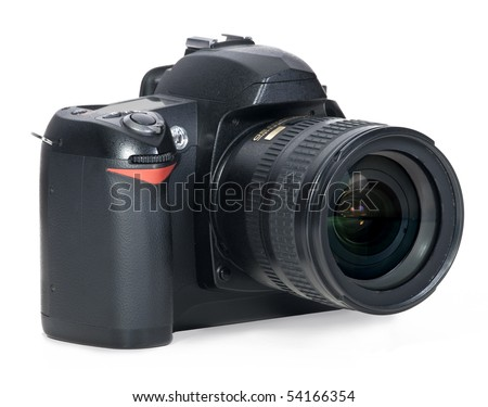 Isolated professional digital camera - stock photo