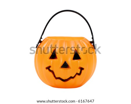 Isolated Pumpkin Basket / Candy Bucket - Halloween Related Object - stock photo