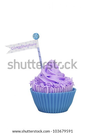isolated purple aqua cupcake with flag with congratulations on it - stock photo