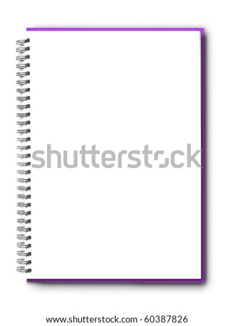 isolated Purple notebook on white.