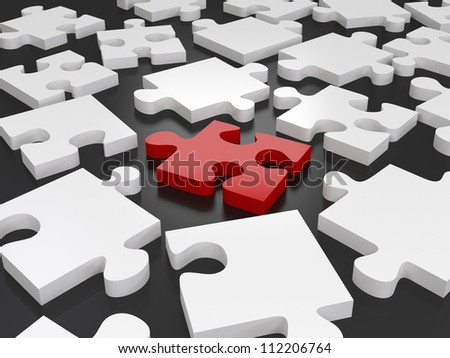 Isolated Puzzle Piece - High quality render