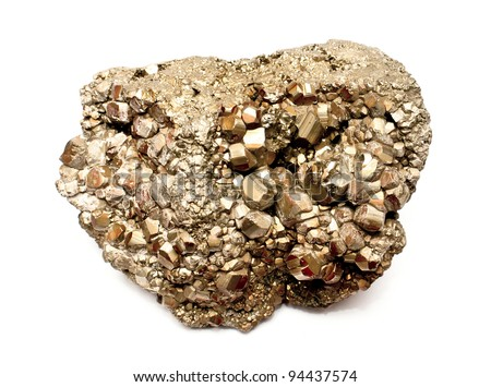 Isolated pyrite mineral (fool's gold) - stock photo