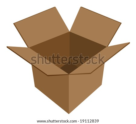 Isolated raster version of empty cardboard box vector - stock photo
