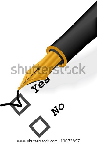 Isolated raster version of Gold Pen check vector illustration - stock photo