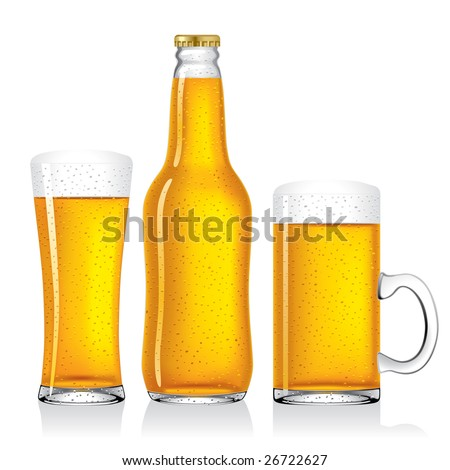 Isolated raster version of vector beer collection (contain the Clipping Path) - stock photo
