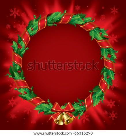 Isolated raster version of vector green holly wreath with red ribbon and gold bells on a red shining background - stock photo