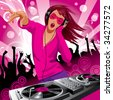 Isolated raster version of vector image of beautiful DJ girl and people dancing at a party (contain the Clipping Path of the girl with Control Panel) - stock photo