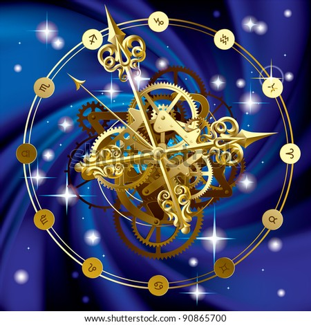 Isolated raster version of vector image of gold round clock with decorative hour hands, cogwheels and zodiacal symbols on starry sky (contain the Clipping Path) - stock photo