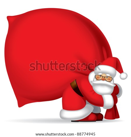Isolated raster version of vector image of the Santa Claus carrying a big red sack full of gifts. - stock photo
