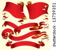 Isolated raster version of vector set of old red banners (contain the Clipping Path of all objects) - stock photo