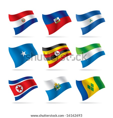 Isolated raster version of vector set of world flags - stock photo