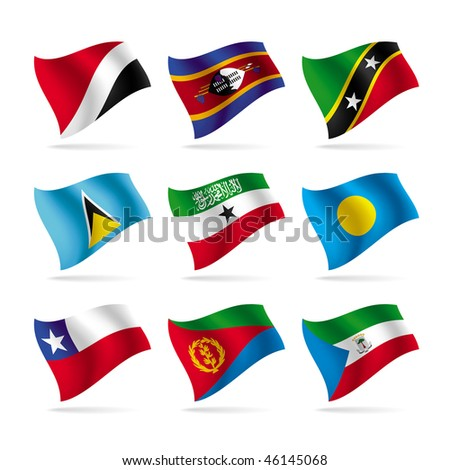 Isolated raster version of vector set of world flags