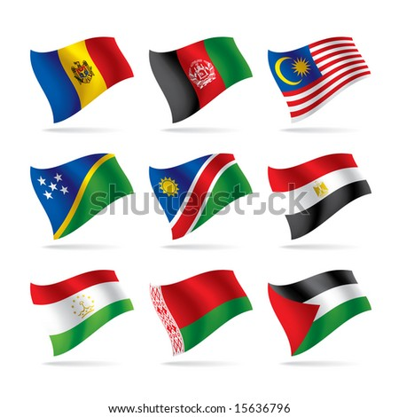 Isolated raster version of vector set of world flags 6 (contain the Clipping Path of all objects) - stock photo