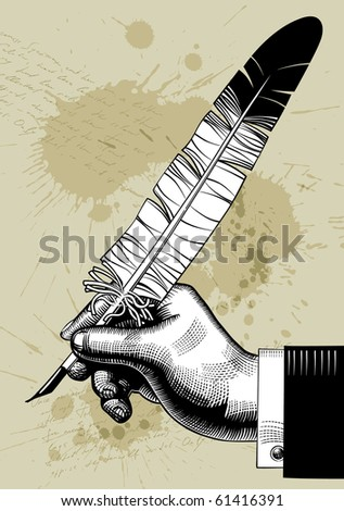Isolated raster version of vector vintage image of hand with a feather (contain the Clipping Path of the hand with a feather) - stock photo