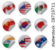Isolated raster version of vector world flag labels (contain the Clipping Path of all objects) - stock photo